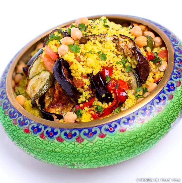 Fitness On Toast Faya Blog Girl Morocco Food Recipe Inspired Themed Moroccan Salad CousCous Tagine Saffron Courgette Chickpeas Zucchini Aubergine Sultanas Olives SQUARE