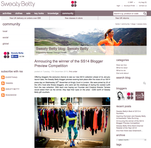 SWEATY BETTY WEBSITE - SS14 Blogger Styling Competition winner (yay) - 29th DEC 2013 -' aria-describedby='gallery-4-14152