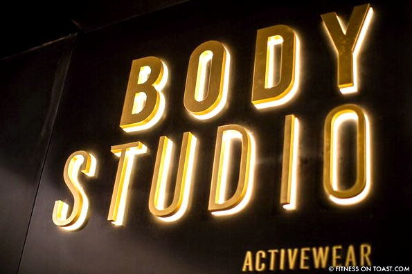 Faya Nilsson of Fitness On Toast in collaboration with Selfridges for 'The Body Studio'; The iconic sign at the entrance to the space!