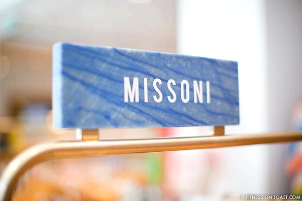 Faya Nilsson of Fitness On Toast in collaboration with Selfridges for 'The Body Studio'; The Missoni area with name printed on blue marble plaque