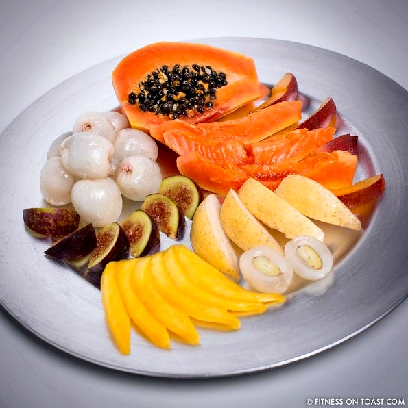 Fitness On Toast Faya Blog Exotic Fruit Salad Nutrition Healthy Low Calorie Easy Recipe Nutritious Tasty Treat Dessert Mango Papaya Lychee Nectarine Fig SQUARE