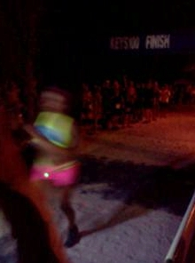 That blur is Alyson Venti, moments after she crossed the finish line.