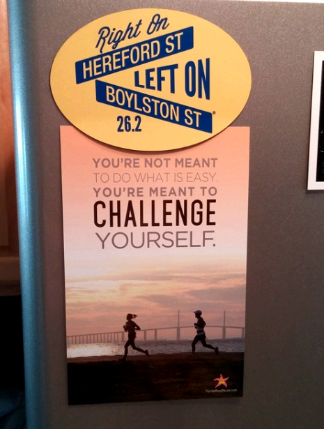 Motivation on my fridge.  The Boston Marathon magnet was a gift from my friend Lindsay, who also got me the rubber bracelet I reference in the post. The postcard was designed the wife of my friend and local race director Chris Lauber. ' /2015/01/fridge-motivation.jpg?w=470 470w, /2015/01/fridge-motivation.jpg?w=114 114w, /2015/01/fridge-motivation.jpg?w=228 228w, /2015/01/fridge-motivation.jpg 500w